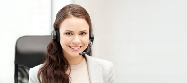 helpline operator with laptop computer